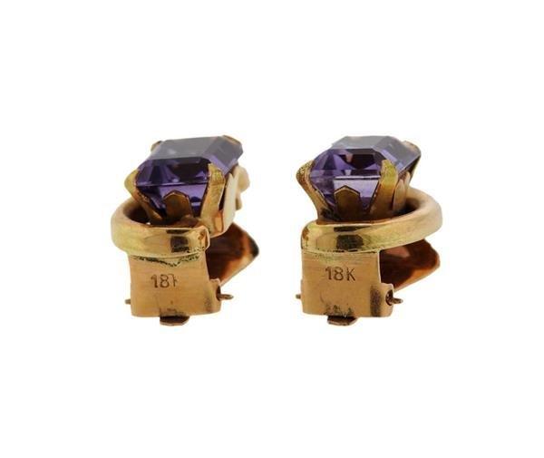 Retro 18K Gold Amethyst Earrings - 2