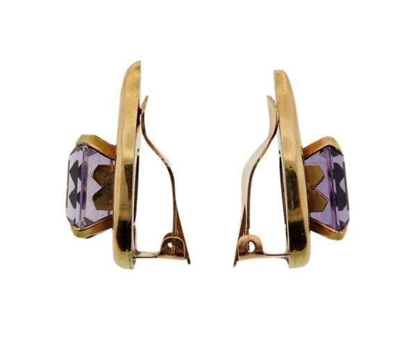 Retro 18K Gold Amethyst Earrings - 3