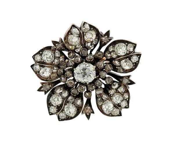 Continenatl 18k Gold Silver Diamond Flower Brooch