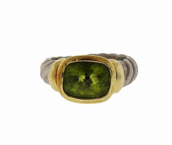 David Yurman 14K Gold Sterling Silver Peridot Ring