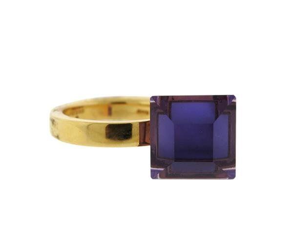 Gucci 18k Gold Amethyst Ring