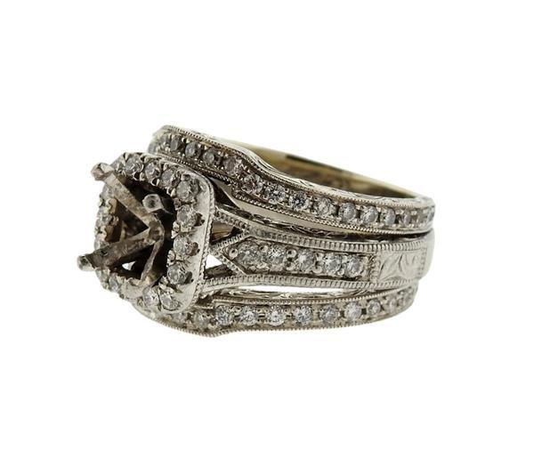 Neil Lane 14K Gold Platinum Diamond Bridal Ring - 2