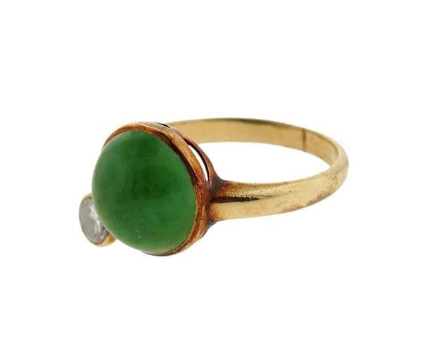 14K Gold Diamond Jade Ring - 2
