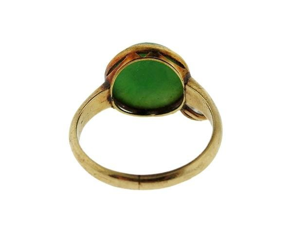 14K Gold Diamond Jade Ring - 4