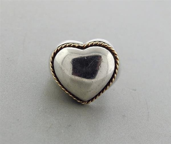 Tiffany & Co Sterling Silver 18K Gold Heart Dome