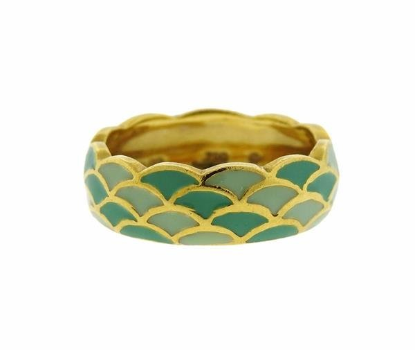 Hidalgo 18K Gold Enamel Scalloped Band Ring