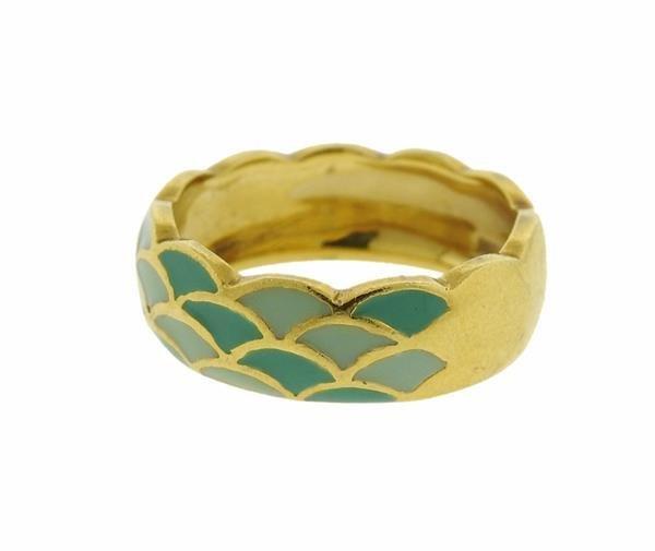 Hidalgo 18K Gold Enamel Scalloped Band Ring - 2