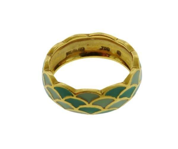 Hidalgo 18K Gold Enamel Scalloped Band Ring - 3