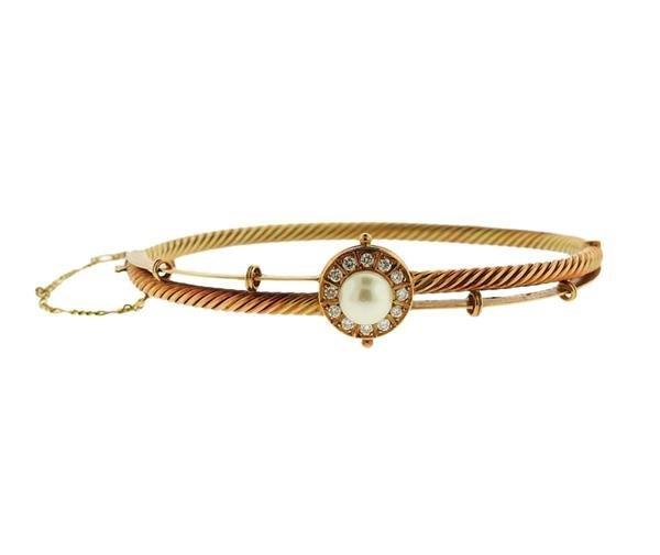 18K Gold Diamond Pearl Bangle Bracelet
