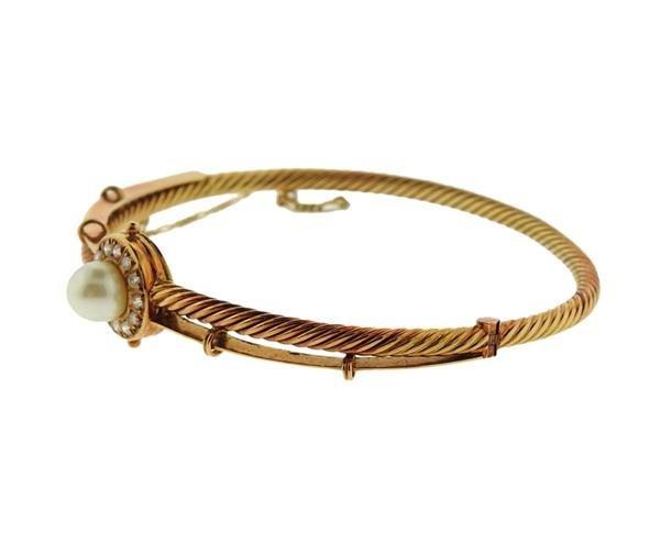 18K Gold Diamond Pearl Bangle Bracelet - 2