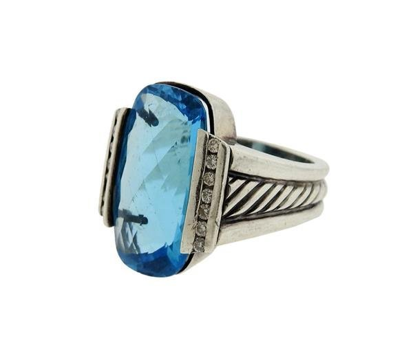 David Yurman Sterling Silver Blue Topaz Diamond Ring - 2