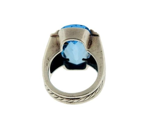 David Yurman Sterling Silver Blue Topaz Diamond Ring - 3