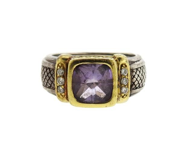 Judith Ripka 18K Gold Sterling Amethyst Diamond Ring