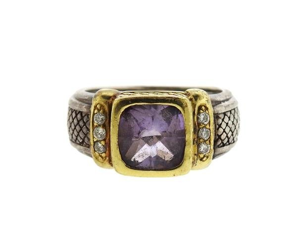 Judith Ripka 18K Gold Sterling Amethyst Diamond Ring