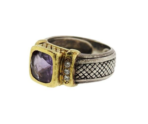 Judith Ripka 18K Gold Sterling Amethyst Diamond Ring - 2