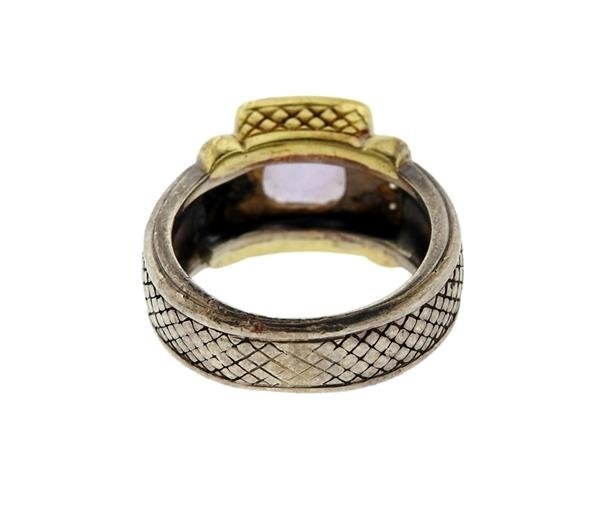 Judith Ripka 18K Gold Sterling Amethyst Diamond Ring - 3