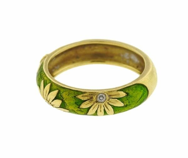 Hidalgo 18K Gold Diamond Green Enamel Band Ring - 2