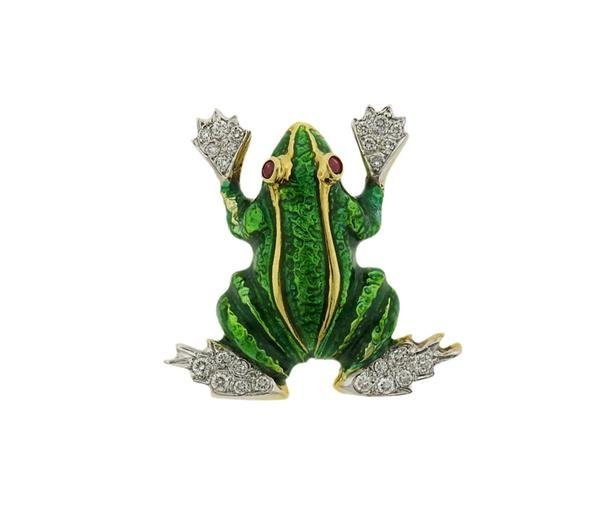 18K Gold Diamond Ruby Enamel Frog Brooch Pin
