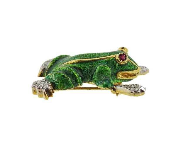 18K Gold Diamond Ruby Enamel Frog Brooch Pin - 3