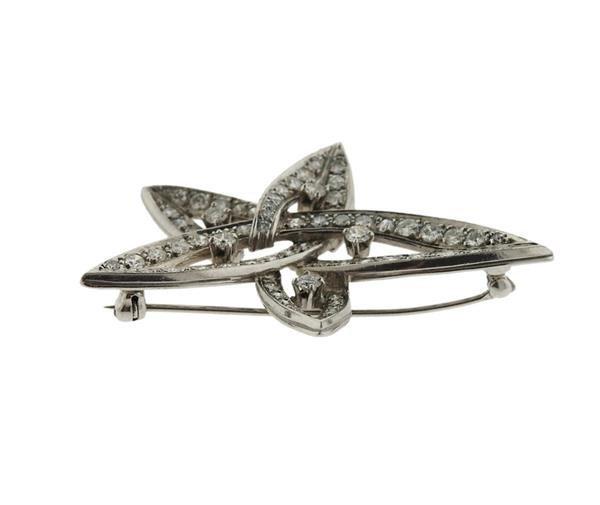 Platinum 2.00ctw Diamond Star Motif Brooch Pendant - 2