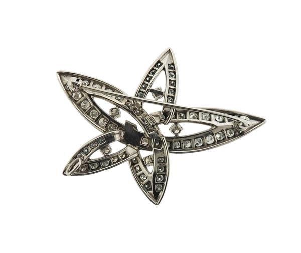 Platinum 2.00ctw Diamond Star Motif Brooch Pendant - 3
