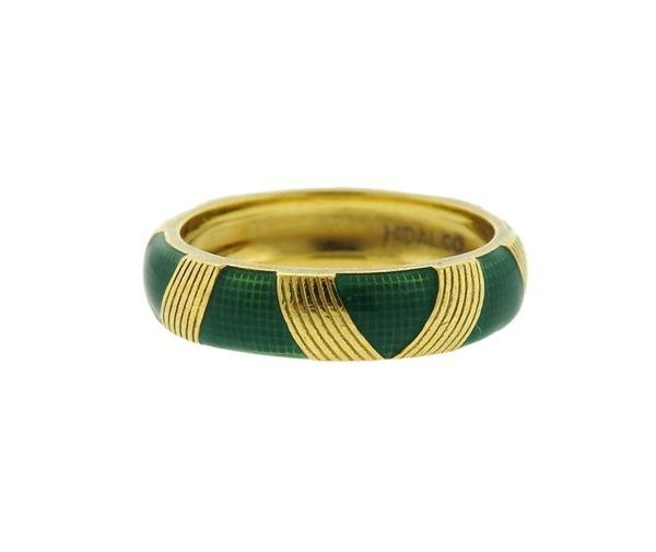 Hidalgo 18K Gold Green Enamel Band Ring