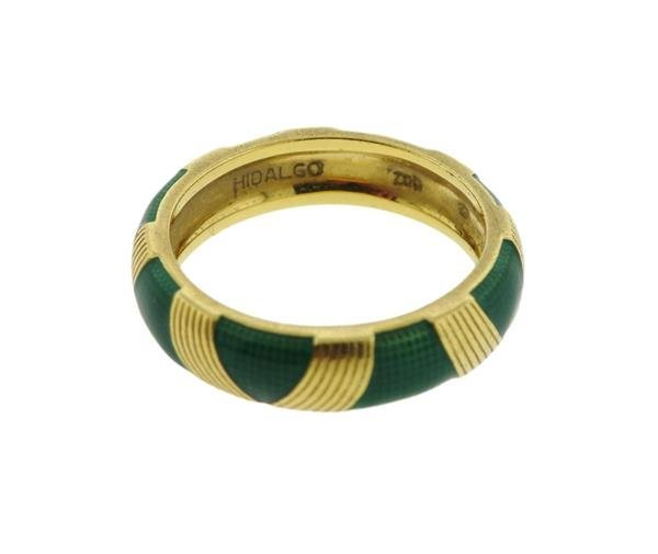 Hidalgo 18K Gold Green Enamel Band Ring - 2
