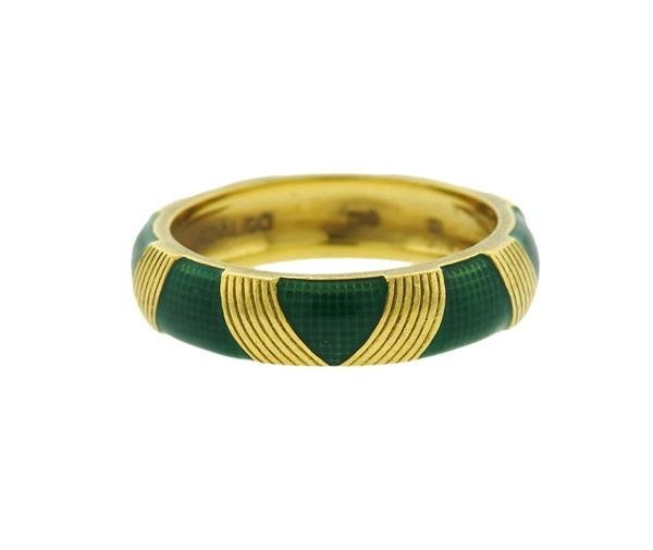 Hidalgo 18K Gold Green Enamel Band Ring - 3
