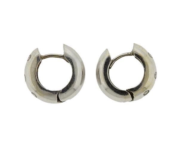 14K Gold Diamond Huggie Earrings - 2