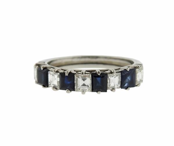 Platinum  Diamond Sapphire Band Ring