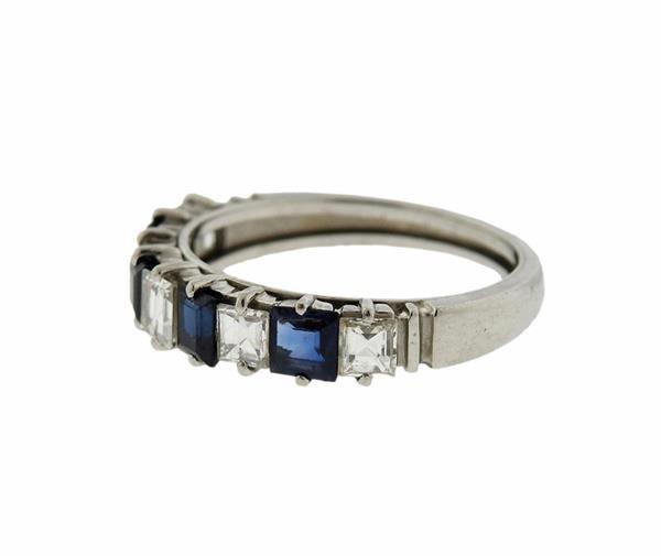 Platinum  Diamond Sapphire Band Ring - 2