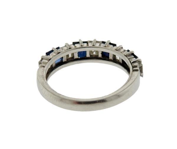 Platinum  Diamond Sapphire Band Ring - 3