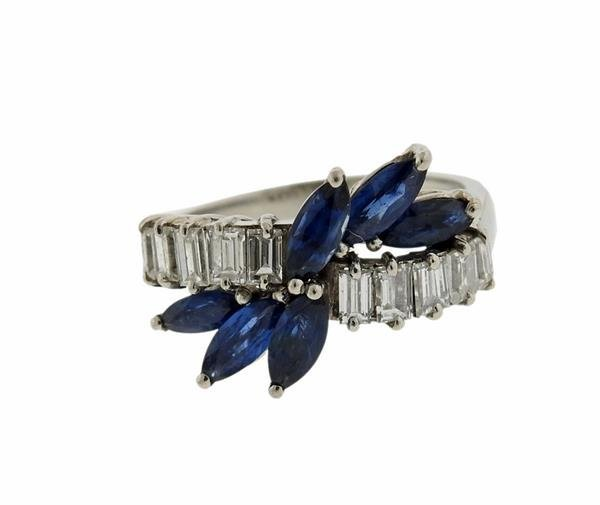 18K Gold Blue Stone Diamond Ring