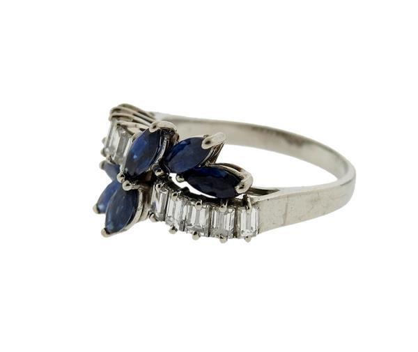18K Gold Blue Stone Diamond Ring - 2