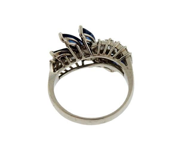 18K Gold Blue Stone Diamond Ring - 3