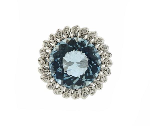 18K Gold 15ct Aquamarine Diamond Cocktail Ring