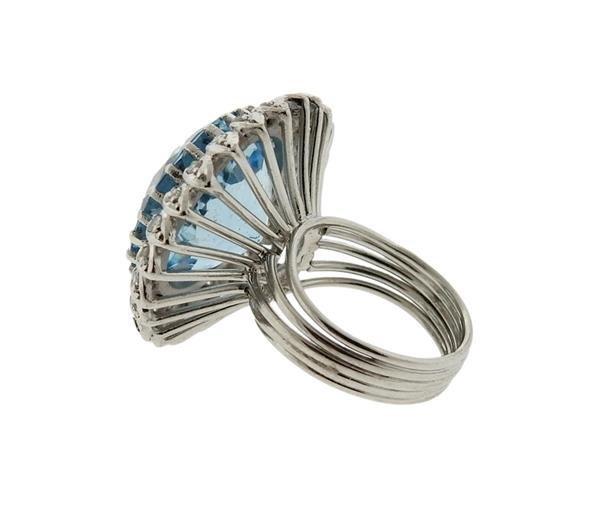 18K Gold 15ct Aquamarine Diamond Cocktail Ring - 3