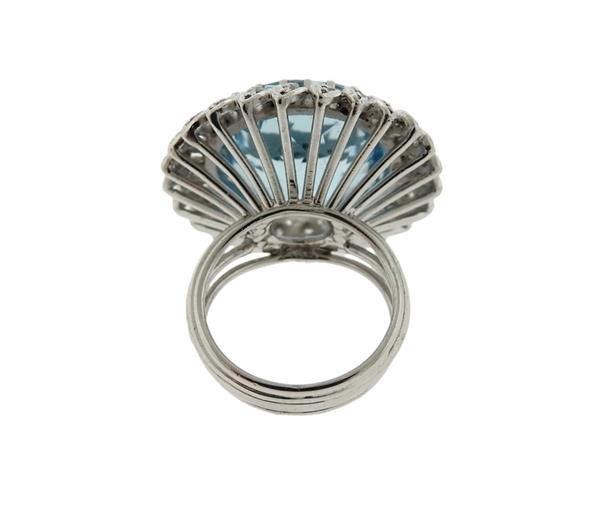 18K Gold 15ct Aquamarine Diamond Cocktail Ring - 4