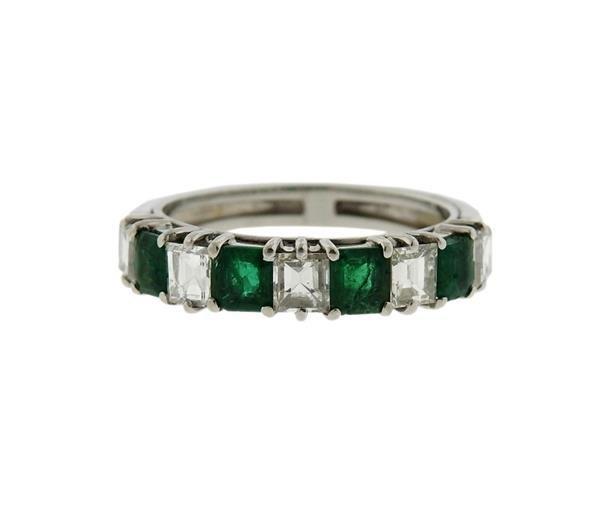 Platinum Gold Diamond Emerald Band Ring