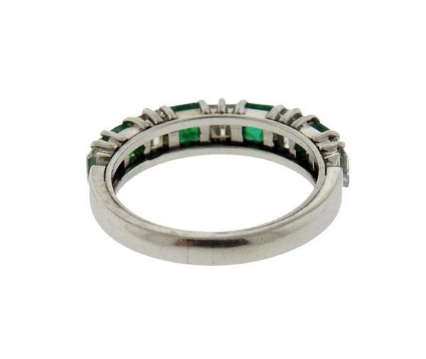 Platinum Gold Diamond Emerald Band Ring - 2