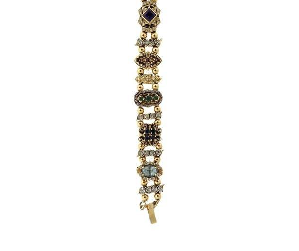 Vintage Joshua 14K Diamond Gold Multi Stone Slide - 2