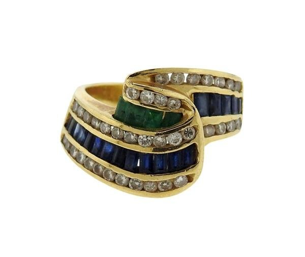 14K Gold Diamond Emerald Sapphire Wave Band Ring