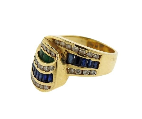 14K Gold Diamond Emerald Sapphire Wave Band Ring - 2