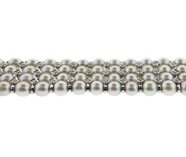 14K Gold Diamond Pearl 4 Row Bracelet - 2