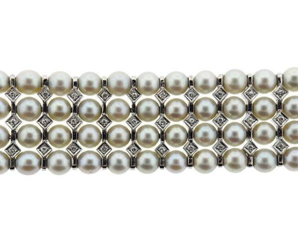 14K Gold Diamond Pearl 4 Row Bracelet - 3