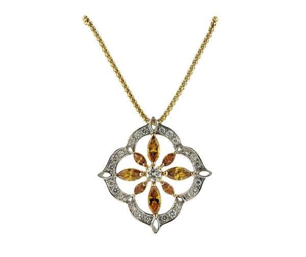 Italian 18K Gold Diamond Slide Pendant Necklace