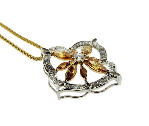 Italian 18K Gold Diamond Slide Pendant Necklace - 2