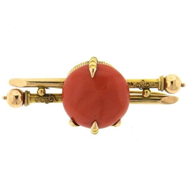 Antique Victorian Coral Gold Claw Brooch Pin