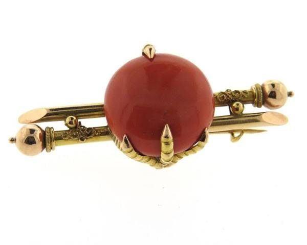 Antique Victorian Coral Gold Claw Brooch Pin - 3