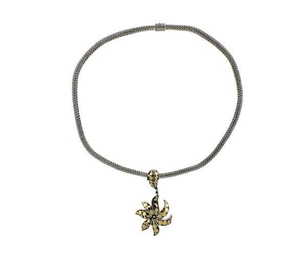 John Hardy 18K Gold Sterling Dot Pendant Necklace - 2